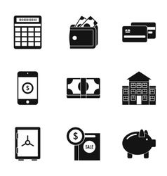Finance icons set simple style vector