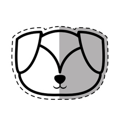 Face puppy adorable pedigree dot line shadow vector