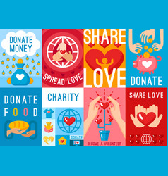 Charity donation posters set vector