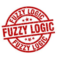 Fuzzy logic round red grunge stamp vector