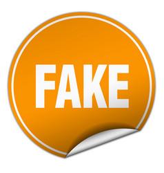 Fake round orange sticker isolated on white vector
