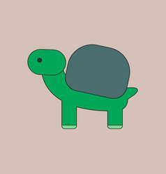 Sea turtle with green shell vector