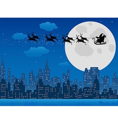 Santas sleigh over urban skyline vector