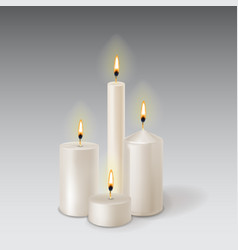 3d set realistic paraffin candles isolated on vector