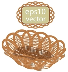 Brown wicker basket handmade vector