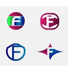 Set of letter f logo icons design template element vector