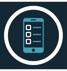 Mobile test flat blue and white colors rounded vector