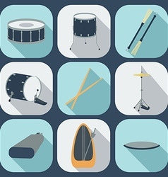 Drum flat icons vector