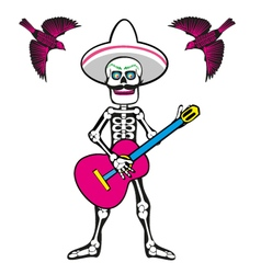 skull with guitar vector image