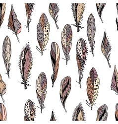 Seamless pattern with feathers endless texture vector