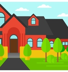 Background of red house with beautiful landscape vector