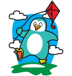 Penguin playing kites vector