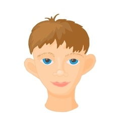 Face of young man icon cartoon style vector