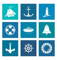 Set of blue marine icons vector