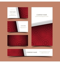 Circle business card set vector image