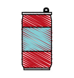 Color crayon stripe cartoon soda can of drinks vector