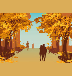 colorful autumn city park background vector image vector image