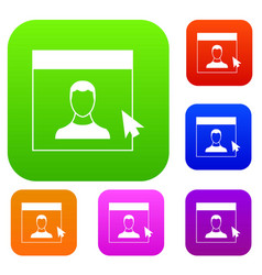 cursor point man on monitor set collection vector image