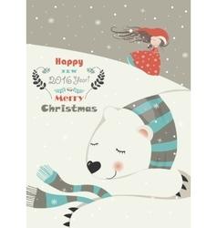 Cute girl with sleeping polar bear vector