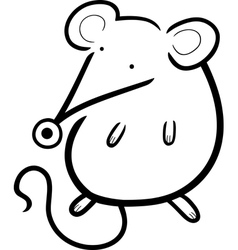 cute mouse cartoon for coloring book vector image vector image