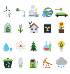 different green symbols on the ecology theme vector image vector image