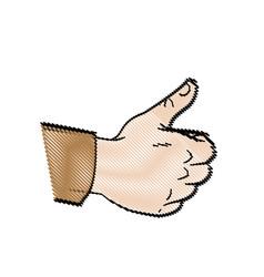 Drawing hand make thumb up comic vector