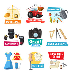 Farming engineering sewing or photo items vector