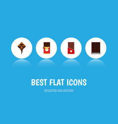 Flat icon chocolate set of dessert chocolate bar vector