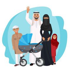 Friendly arabic cartoon family stands together vector