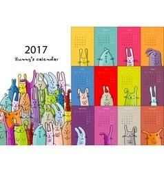 Funny rabbits design calendar 2017 vector