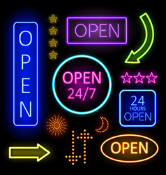 Glowing Neon Lights for Open Signs vector image vector image