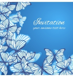 Greeting card template with hand drawn butterfies vector