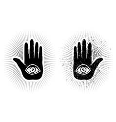 Hand and eye vector image
