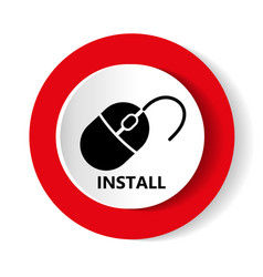 install icon modern design of red and whit vector image vector image