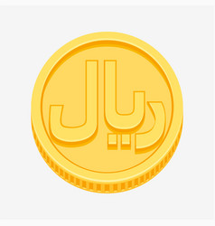 Iranian rial symbol on gold coin vector