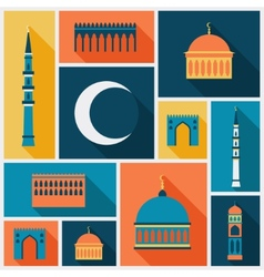 Islamic background with mosque in flat design vector