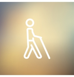 Man with stick thin line icon vector