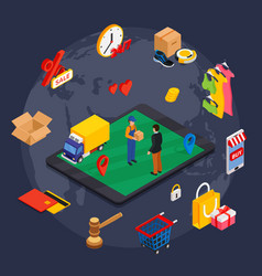 Online shopping isometric concept with related vector