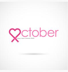 Pink heart ribbon signbreast cancer october vector
