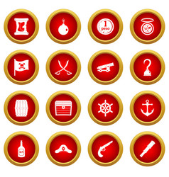 Pirate icon red circle set vector
