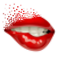 pixel art female sexy gloss red lips vector image vector image