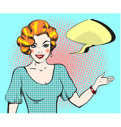 pop art woman with speech bubble pin up retro vector image vector image
