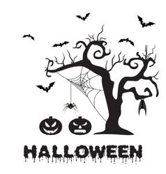 Spooky silhouette of halloween tree pumpkin vector