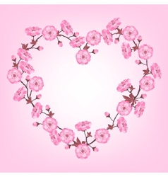 Spring sakura flowers Valentines day background vector image