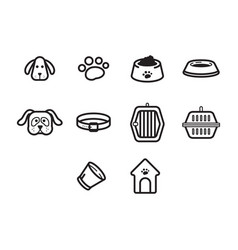Thin line dog icon set vector