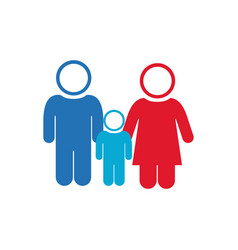 white background of pictogram with couple and son vector image vector image