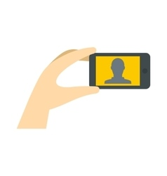 Man taking selfie photo on smartphone icon vector