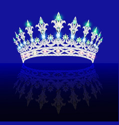 Beautiful crown tiara tiara with gems vector