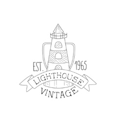 Lighthouse vintage sea and nautical symbol hand vector