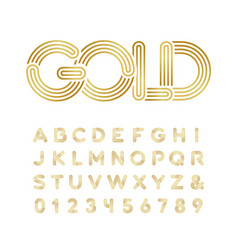 Golden font alphabet with gold effect letters and vector
